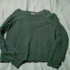 Hunter Green Old Navy crocheted sweater